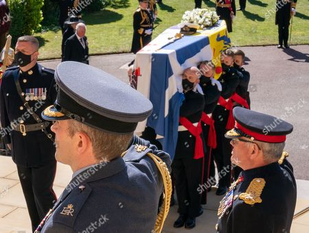 The Funeral of His Royal Highness The Duke of Edinburgh took place  1500hrs on Saturday, 17th April 2021. St George's Chapel Windsor Castle precincts. The Pall Bearers:  The Prince of Wales and The Princess Royal, The Earl of Wessex and Forfar, The Duke of York, The Duke of Sussex Mr. Peter Phillips, Duke of Cambridge, The Earl of Snowdon, , Vice Admiral Sir Tim Laurence  Personal Protection Officer,  and Private Secretary Pool Picture: Arthur Edwards, The Sun