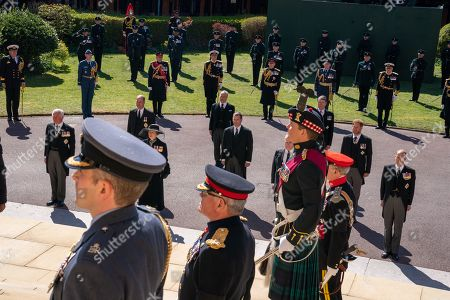 Stock Photo of The Funeral of His Royal Highness The Duke of Edinburgh took place  1500hrs on Saturday, 17th April 2021. St George's Chapel Windsor Castle precincts. The Pall Bearers:  The Prince of Wales and The Princess Royal, The Earl of Wessex and Forfar, The Duke of York, The Duke of Sussex Mr. Peter Phillips, Duke of Cambridge, The Earl of Snowdon, , Vice Admiral Sir Tim Laurence  Personal Protection Officer,  and Private Secretary Pool Picture: Arthur Edwards, The Sun