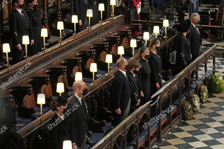 (left to right) Catherine Duchess of Cambridge, Prince William, Prince Edward, James Viscount Severn, Sophie Countess of Wessex, Lady Louise Windsor, Camilla Duchess of Cornwall and Prince Charles during the funeral of the Duke of Edinburgh in St George's Chapel, Windsor Castle, Berkshire