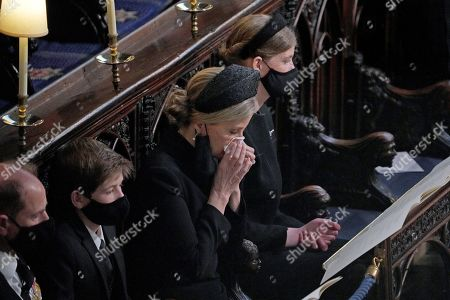 Prince Edward, James Viscount Severn, Sophie Countess of Wessex and Lady Louise Windsor during the funeral of the Duke of Edinburgh in St George's Chapel, Windsor Castle, Berkshire
