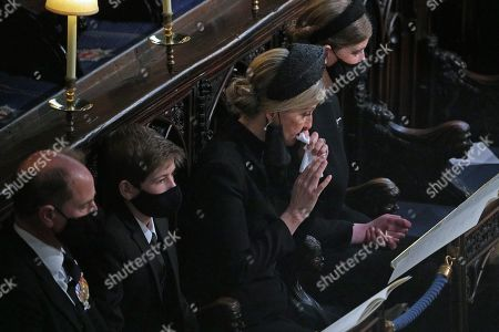Stock Picture of Prince Edward, James Viscount Severn, Sophie Countess of Wessex and Lady Louise Windsor during the funeral of the Duke of Edinburgh in St George's Chapel, Windsor Castle, Berkshire