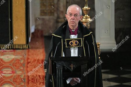 The Archbishop of Canterbury Justin Welby during the funeral of the Duke of Edinburgh in St George's Chapel, Windsor Castle, Berkshire