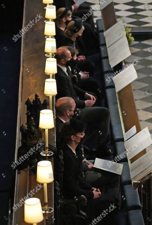 Stock Photo of (top to bottom) Lady Louise Windsor, Sophie Countess of Wessex, James Viscount Severn, Prince Edward, Prince William and Catherine Duchess of Cambridge during the funeral of the Duke of Edinburgh in St George's Chapel, Windsor Castle, Berkshire