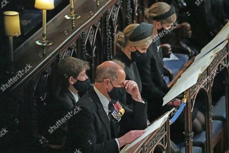 (left to right) James Viscount Severn, Prince Edward, Sophie Countess of Wessex and Lady Louise Windsor during the funeral of the Duke of Edinburgh in St George's Chapel, Windsor Castle, Berkshire