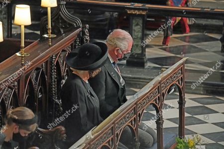 Camilla Duchess of Cornwall and Prince Charles during the funeral of the Duke of Edinburgh in St George's Chapel, Windsor Castle, Berkshire