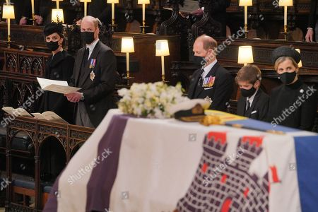 Mourners, including from left, Catherine Duchess of Cambridge, Prince William, the Prince Edward, James Viscount Severn, and Sophie Countess of Wessex, during the funeral of the Duke of Edinburgh at St George's Chapel, Windsor Castle, Berkshire.