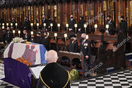 Mourners, including, front row, from left, Catherine Duchess of Cambridge, Prince William, the Prince Edward, James Viscount Severn, Lady Louise Windsor Mountbatten-Windsor, Sophie Countess of Wessex, Camilla Duchess of Cornwall and Prince Charles at the Duke of Edinburgh's funeral service at St George's Chapel, Windsor Castle, Berkshire. Back row, from left: The Earl of Snowdon, Mr Peter Phillips, Mr Mike Tindall, Zara Tindall, Mr Jack Brooksbank, Princess Eugenie, Mr Edoardo Mapelli Mozzi and Princess Beatrice.