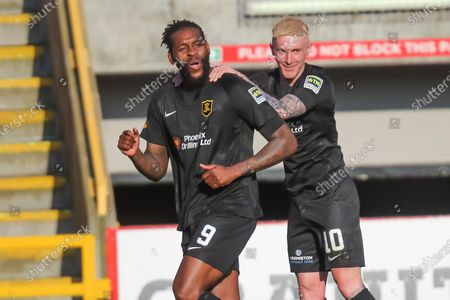 GOAL 0-1  Jay Emmanuel-Thomas (9) of Livingston scores a goal 0-1 and celebrates, celebration during the Scottish FA Cup match between Aberdeen and Livingston at Pittodrie Stadium, Aberdeen