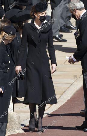 Stock Photo of Catherine Duchess of Cambridge, Catherine Duchess of Cambridge at the funeral of Prince Philip, The Duke of Edinburgh, at Windsor Castle.