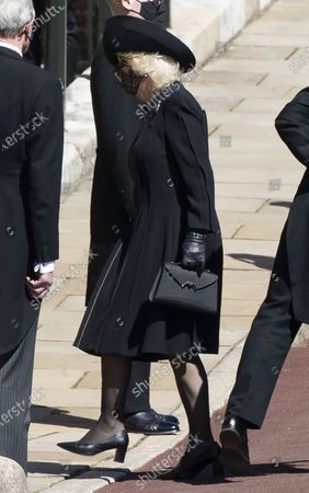 Camilla, Camilla Duchess of Cornwall arriving for the funeral of Prince Philip, The Duke of Edinburgh, at Windsor Castle.