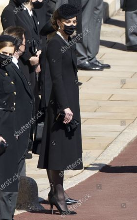 Catherine Duchess of Cambridge, The Duches of Cambridge at the funeral of Prince Philip, The Duke of Edinburgh, at Windsor Castle.