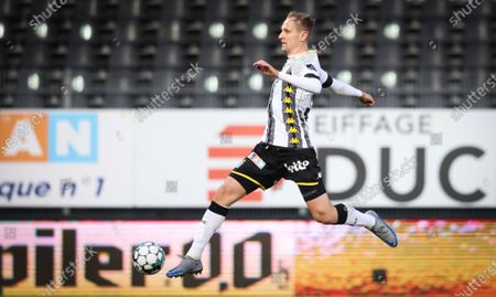 Stock Image of Charleroi's Lukasz Teodorczyk pictured in action during a soccer match between Sporting Charleroi and KAS Eupen, Saturday 17 April 2021 in Charleroi, on the 34th and last day of the regular season of the 'Jupiler Pro League' first division of the Belgian championship.