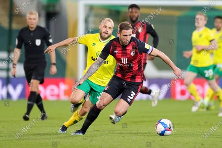 Steve Cook (3) of Bournemouth defends the ball during the EFL Sky Bet Championship match between Norwich City and Bournemouth at Carrow Road, Norwich