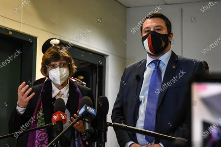 Matteo Salvini and Giulia Bongiorno in Palermo, Italy on April 17, 2021 at the bunker hall of the Ucciardone prison, for the preliminary hearing of the Open Arms, after which he was sent back to trial, because he was accused of kidnapping. He is the only minister in the world to be tried for preventing a foreign ONG from landing illegal immigrants on national soil.