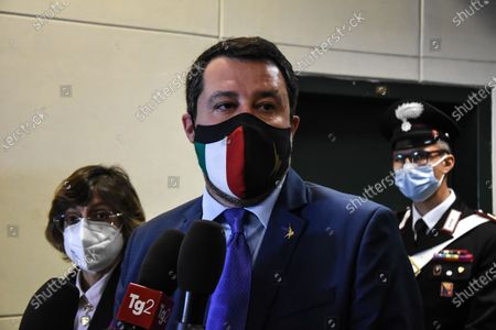 Matteo Salvini in Palermo, Italy on April 17, 2021 at the bunker hall of the Ucciardone prison, for the preliminary hearing of the Open Arms, after which he was sent back to trial, because he was accused of kidnapping. He is the only minister in the world to be tried for preventing a foreign ONG from landing illegal immigrants on national soil.