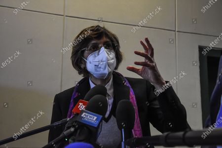 Giulia Bongiorno in Palermo, Italy on April 17, 2021 at the bunker hall of the Ucciardone prison, for the preliminary hearing of the Open Arms, after which he was sent back to trial, because he was accused of kidnapping. He is the only minister in the world to be tried for preventing a foreign ONG from landing illegal immigrants on national soil.