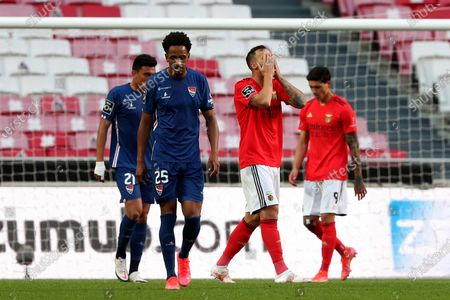 Haris Seferovic of SL Benfica (2nd R ) reacts during the Portuguese League football match between SL Benfica and Gil Vicente FC at the Luz stadium in Lisbon, Portugal on April 17, 2021.