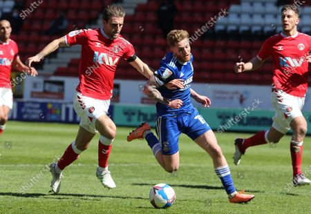 L-R Charlton Athletic's Alex Gilbey and Teddy Bishop of Ipswich Town during Sky Bet League One between Charlton Athletic  and Ipswich Town at The Valley,  Woolwich, England on 17th April  2021.