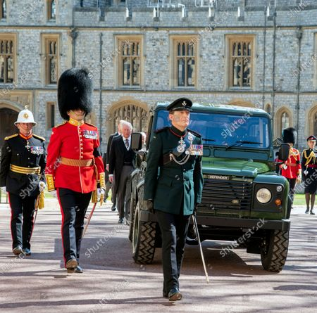 Prince Charles follows the coffin of HRH Prince Philip, The Duke of Edinburgh funeral. St George's Chapel, Windsor Castle.
