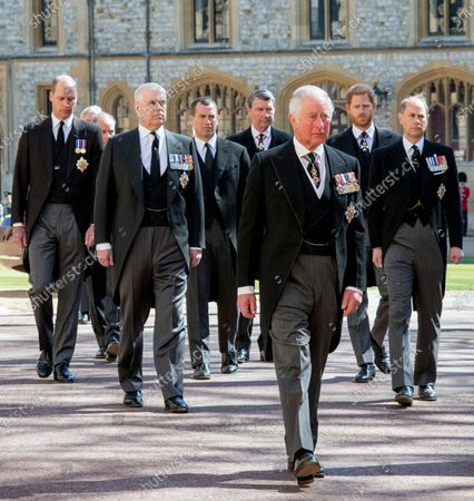 Prince Charles, Princess Anne, Duke of York, Prince Edward, Prince William, Mr. Peter Phillips and Vice Admiral Tim Laurence attending the funeral of HRH Prince Philip, The Duke of Edinburgh. St George's Chapel, Windsor Castle.