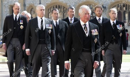 Prince Charles, The Prince Edward, Prince Andrew, Prince Harry, Mr. Peter Phillips, Prince William, Vice Admiral Tim Laurence, The Earl of Snowdon attending the funeral of HRH Prince Philip, The Duke of Edinburgh. St George's Chapel, Windsor Castle.