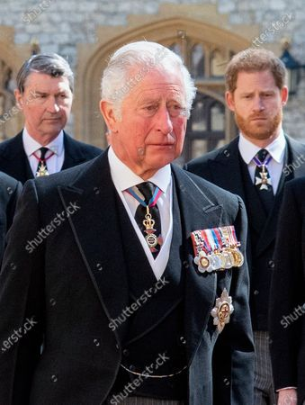 Prince Charles, Prince Harry, Vice Admiral Tim Laurence attending the funeral of HRH Prince Philip, The Duke of Edinburgh. St George's Chapel, Windsor Castle.