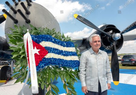 Johnny de la Cruz, president of the Brigade 2506 Veterans Association poses next to a B-26 bomber, used in the Bay of Pig invasion, during the 60th anniversary of the Bay of Pig Invasion's ceremony at the Monument of the Brigade 2506 Air Force at the Miami Executive Airport in Miami, Florida, USA, 17 April 2021. The Bay of Pigs Invasion in April 1961 was a failed attack launched by the CIA during the Kennedy administration to topple Cuban leader Fidel Castro. The Brigade 2506 was formed in 1960, by Cuban exiles, to attempt military incursion to Cuba.