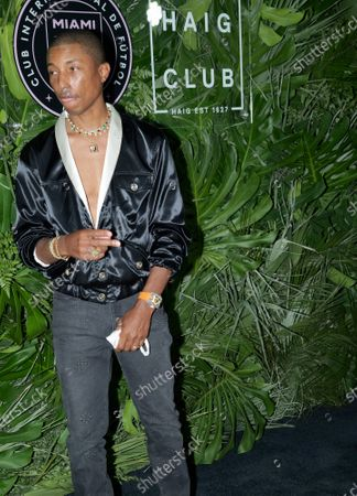 Pharrell Williams walks the red carpet to celebrate the opening of the Goodtime Hotel in Miami Beach, Florida, Friday, April 16, 2021.