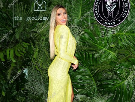 Stock Photo of LeLe Pons walks the red carpet to celebrate the opening of the Goodtime Hotel in Miami Beach, Florida, Friday, April 16, 2021.