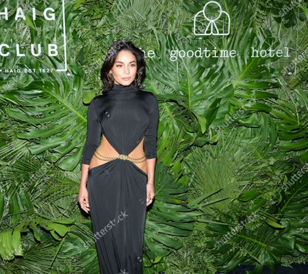 Stock Picture of Vanessa Hudgens walks the red carpet to celebrate the opening of the Goodtime Hotel in Miami Beach, Florida, Friday, April 16, 2021.