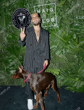 Maluma walks the red carpet to celebrate the opening of the Goodtime Hotel in Miami Beach, Florida on Friday, April 16, 2021.