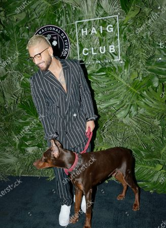 Stock Picture of Maluma walks the red carpet to celebrate the opening of the Goodtime Hotel in Miami Beach, Florida on Friday, April 16, 2021.
