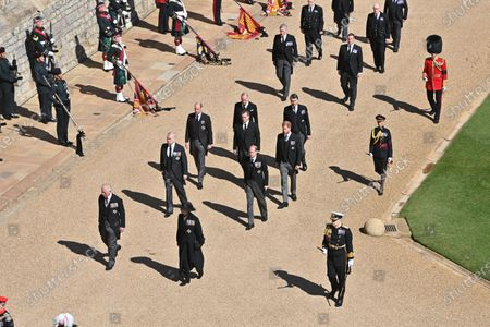 Prince Charles, Princess Anne, Prince Andrew, Prince Edward, Prince William, Peter Philips and Prince Harry