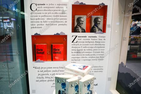 The critical edition of 'Mein Kampf' book by Adolf Hitler and Barack Obama's memoir 'A Promised Land' are displayed in a bookstore in Krakow, Poland. April 17, 2021. A new academic edition of the book was published in Poland this year on January 20th by Bellona publishing house. Despite the high price, less than a month after its premiere, the position has become a bestseller in history books section of several bookstores. The release of the Polish translation is the first critical edition of the book published in Poland and only the second in the world. In 2016, a similar scholarly edition was published in Germany.