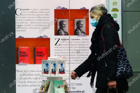 Stock Picture of The critical edition of 'Mein Kampf' book by Adolf Hitler and Barack Obama's memoir 'A Promised Land' are displayed in a bookstore in Krakow, Poland. April 17, 2021. A new academic edition of the book was published in Poland this year on January 20th by Bellona publishing house. Despite the high price, less than a month after its premiere, the position has become a bestseller in history books section of several bookstores. The release of the Polish translation is the first critical edition of the book published in Poland and only the second in the world. In 2016, a similar scholarly edition was published in Germany.