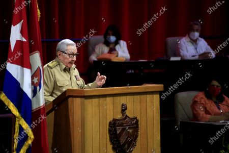 (210417) - HAVANA, April 17, 2021 (Xinhua) - First Secretary of the Central Committee of the Communist Party of Cuba (PCC) Raul Castro presents the Central Report to the Eighth Congress of the PCC in Havana, capital of Cuba, April 16, 2021. The Eighth Congress of the PCC kicked off Friday at Havana's Convention Center. With senior party leaders and delegates from all over the island in attendance, the meeting is scheduled to attend on Monday.