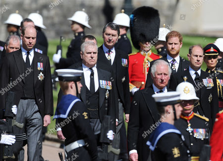 Prince William, Prince Andrew, Prince Harry, Prince Edward and Prince Charles. The ceremonial procession at the funeral of Prince Phillip, Duke of Edinburgh at St. George's Chapel, Windsor Castle