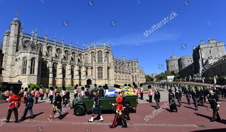 The ceremonial procession at the funeral of Prince Phillip, Duke of Edinburgh at St. George's Chapel, Windsor Castle