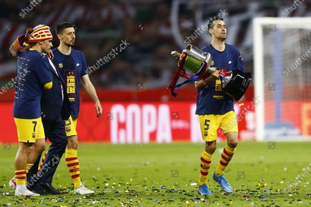 Stock Picture of Antoine Griezmann of FC Barcelona with the cup