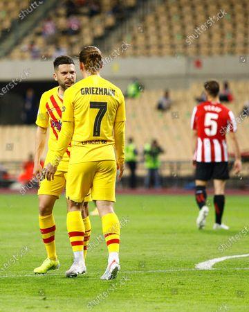 Antoine Griezmann of FC Barcelona celebrates his goal with Jordi Alba