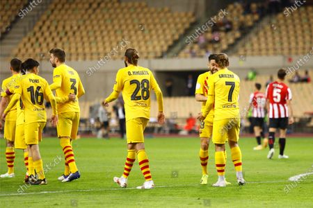 Stock Photo of Antoine Griezmann of FC Barcelona celebrates his goal with Jordi Alba