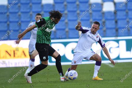 "Gian Marco Ferrari (Sassuolo)Franck Ribery (Fiorentina)           during the Italian ""Serie A"" match between Sassuolo 3-1 Fiorentina at  Mapei Stadium in Reggio Emilia, Italy."