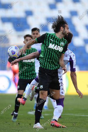 "Gian Marco Ferrari (Sassuolo)Dusan Vlahovic (Fiorentina)           during the Italian ""Serie A"" match between Sassuolo 3-1 Fiorentina at  Mapei Stadium in Reggio Emilia, Italy."
