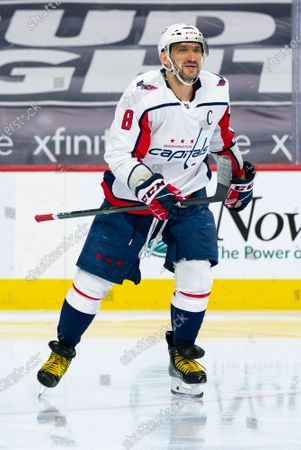 Washington Capitals' Alex Ovechkin reacts during the second period of an NHL hockey game against the Philadelphia Flyers, in Philadelphia. The Capitals won 6-3
