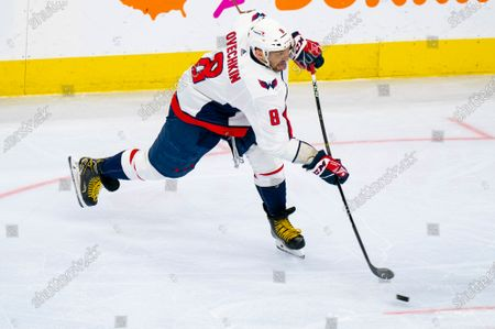 Stock Photo of Washington Capitals' Alex Ovechkin in action during the third period of an NHL hockey game against the Philadelphia Flyers, in Philadelphia. The Capitals won 6-3