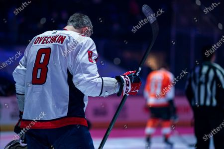 Washington Capitals' Alex Ovechkin looks on for the national anthem prior to the first period of an NHL hockey game against the Philadelphia Flyers, in Philadelphia. The Capitals won 6-3