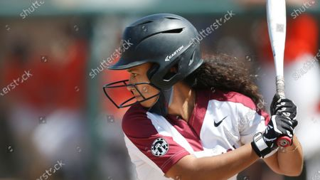 Stock Photo of Allyson Ferreira of Santa Clara at bat against Pacific during an NCAA softball game on in Santa Clara, Calif