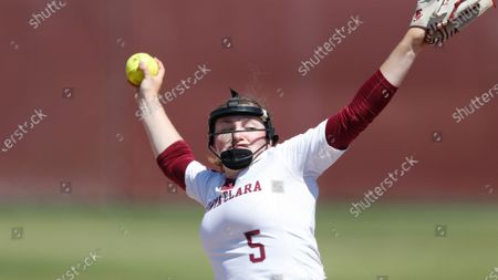Stock Picture of Lauren Anderson of Santa Clara pitches against Pacific during an NCAA softball game on in Santa Clara, Calif