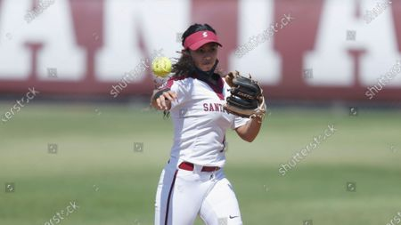 Stock Picture of Allyson Ferreira of Santa Clara fields the ball against Pacific during an NCAA softball game on in Santa Clara, Calif