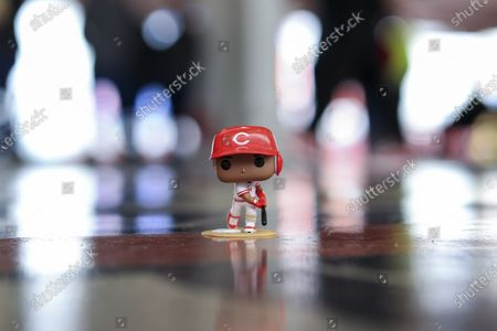 Stock Photo of View of the Funko Pop toy of former Reds' player Eric Davis during a baseball game between the Cleveland Indians and the Cincinnati Reds in Cincinnati, . The Reds' gave the Funko Pop as a promotional item to fans. The Reds won 3-2